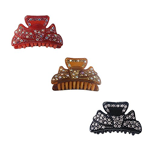 Twinkle Jaw Hair Clips - Bow Design - Set X 3 (Black + Coffee + Red) (Saloon Girl Hairstyles)
