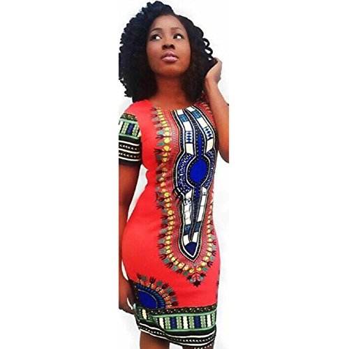 Lookatool Women Traditional African Print Dashiki Bodycon Short Sleeve Dress (M, Red )