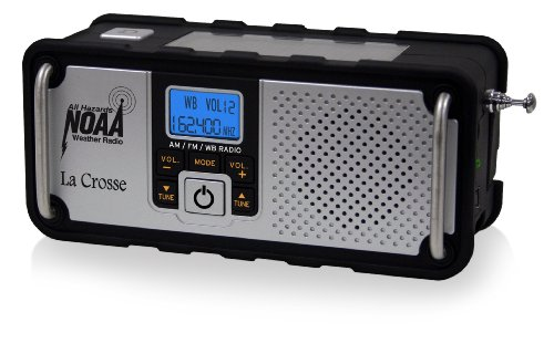 La Crosse Technology 810-106 NOAA/AM/FM Severe Weather Alert Radio with solar panel or hand crank recharging power, USA-made IC chip for High Quality Digital reception, mobile device charging port, rugged design with non-slip rubberized black finish and high intensity LED flashlight