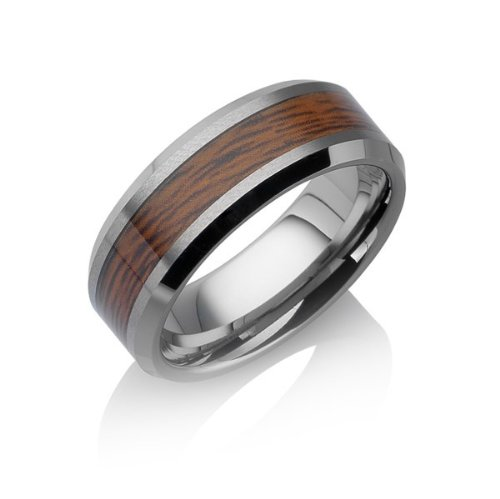 Tungstino Ring 'Rose Wood' Tungsten Carbide, Size:10 (19.84)