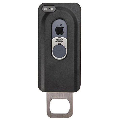 TechMazing High Quality Premium Deluxe Cool Beer Bottle Opener Hard Case for iPhone 6 and 6s 4.7 Inch Aluminum Back - Black (Fridge Opener compare prices)