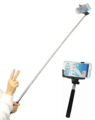 viewing(ビューイング) 自撮り棒 一脚セット モノポッド for iPhone & Android スマートフォンホルダー USB充電ケーブル付属 セルフショットスティック 【技適マーク取得済み 電波法令遵守技術基準適合製品】(ワイヤレスシャッター/ブラック)
