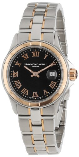 Raymond Weil Women's 9460-SG5-00208 Parsifal Rose Gold and Stainless Steel Black Dial Watch