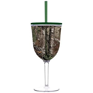 Real Tree Camouflage Camo 13 oz Insulated Wine Glass Slant Lid Straw
