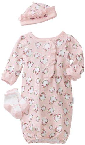Vitamins Baby Girl Newborn Sweet Hearts and Flowers Three-Piece Preemie Set, Pink, One Size