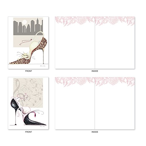 M3324 Catitude Shoes: 10 Assorted Blank All-Occasion Note Cards Feature Stylish Cats Frolicking in Stylish Shoes, w/White Envelopes.