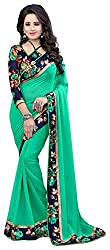 AVSAR PRINTS Women's Georgette Saree with Blouse Piece (Green)