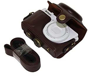 "MegaGear ""Ever Ready"" Protective Dark Brown Leather Camera Case, Bag for Nikon COOLPIX P330, Nikon COOLPIX P340"