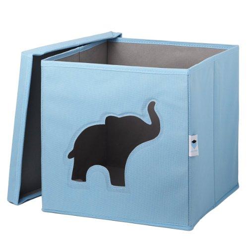 STOREIT-750046-Spielzeugkiste-mit-Sichtfenster-30-x-30-x-30-cm-Elefant-blau