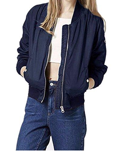 ZANZEA Ladies Bomber Jacket Vintage Zip Up Biker Slim Coat Short Outerwear (10, Polyester Navy)