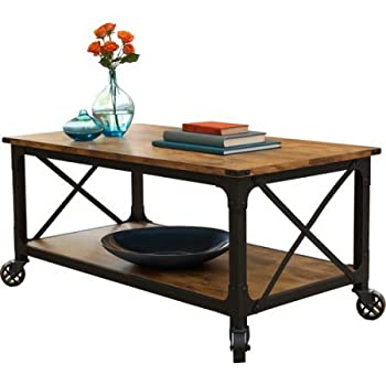 """Better Homes and Gardens Rustic Country Coffee Table for Flat-Panel TVs up to 42"""", Antiqued Black/Pine Finish"""