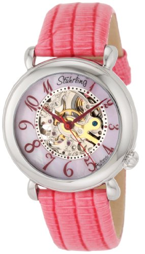 Stuhrling Original Women's 108.1215A9 Classic Metropolis Wall Street Automatic Skeleton Pink Watch