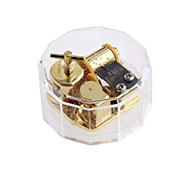 Magideal Acrylic Dodecagon Clockwork Music Box Melody Box Gift Happy Birthday To You