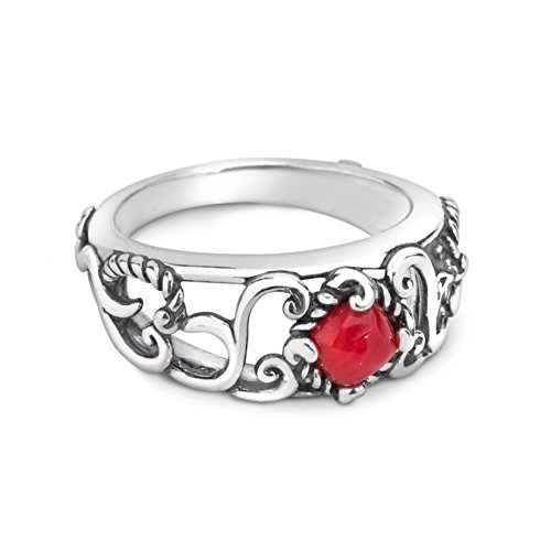 Carolyn Pollack Sterling Silver Red Coral Band Ring (Coral Rings compare prices)