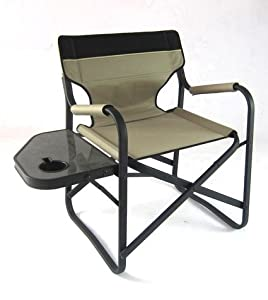 Onway Aluminum Portable Folding Deck Chair with Side Table (Khaki)