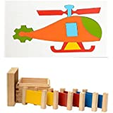 Aimedu Toy Combo Pack Of Wooden 3 Pair Primary Colour Tablet And Helicopter Puzzle Big For Kids Learning