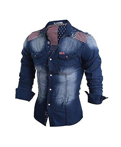 cloudstyle-haut-de-shirt-mince-affaire-decontraction-tee-shirt-homme-jean-homme-bleu-fonce-l