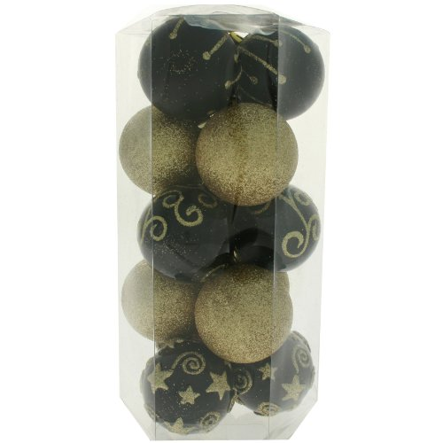 15 Piece Gold and Black Deluxe Christmas Tree Bauble Pack