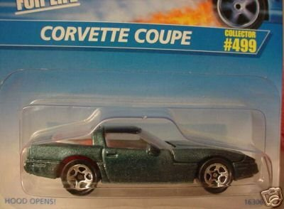 Mattel Hot Wheels 1996 1:64 Scale Dark Green Metallic Chevy Corvette Coupe Die Cast Car Collector #499 - 1