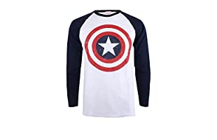 MARVEL Camiseta Manga Larga Capt America Shield (Blanco / Azul Marino)