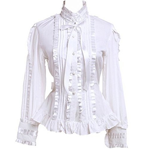 f9516271ad4a6 Partiss Women s Stand-up Collar Lace Ruffle Victorian Lolita Shirt