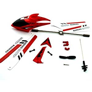 SET RC Helicopter SYMA S107 Red Spare Part Canopy Blade Shaft Balance Buckle etc