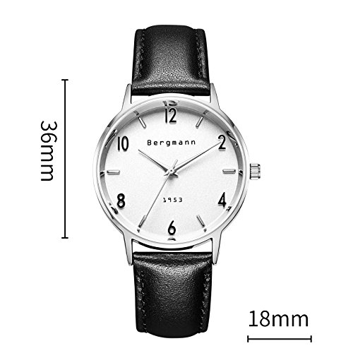 Bergmann Brand Vintage Mens Watches Silver Dial Black Leather Wrist Watch Classic 1953 6