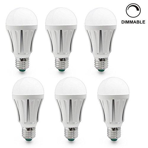 Lot Of 6 110V 10W Dimmable A19 Led Light Bulb - Warm White 2700K Led Bulb - 60W Equivalent E26/E27 Base - 820 Lumen 120 Degree Beam Angle For Home Lighting, Residential Lighting, Commercial Lighting