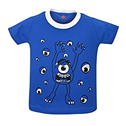 Orange and Orchid Boys Casual Printed Cotton Round Neck Half Sleeves Blue Color T-Shirt
