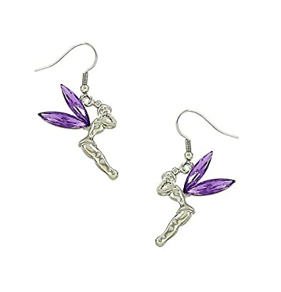 Party Bags//Gifts Girls  Tinkerbell Fairy Stud or Clip on Dangly Earrings