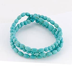 Pugster Fashion Bling Jewelry Set Stackable Turquoise Beads Bracelet