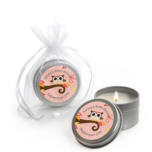 Owl Girl - Look Whooo'S Having A Baby - Personalized Baby Shower Candle Tin Favors