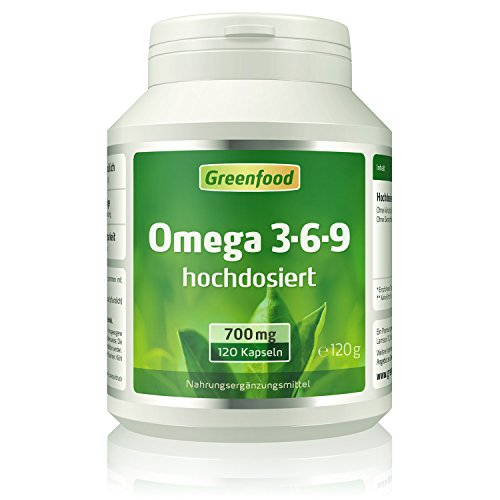 Greenfood Omega 3-6-9, 700mg, extra hochdosiert, 120 Kapseln