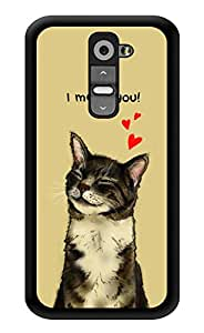 """Humor Gang I Meow You - Cute Kitty Cat Printed Designer Mobile Back Cover For """"LG G2"""" (3D, Glossy, Premium Quality Snap On Case)"""