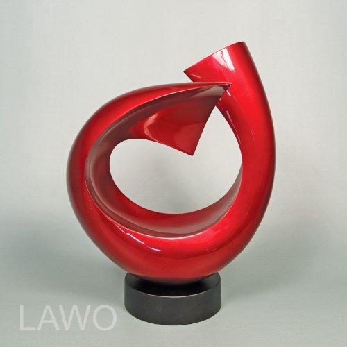 LAWO 102373 Sculpture Design in Laccato LINUS rosso Moderno Art Decorazione Oggetto Esclusivo Scultura in Legno