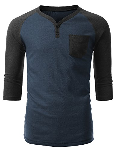 Urbancrews Mens Hipster Hip Hop Three-Quarter Sleeve Raglan Shirt Navy Xlarge