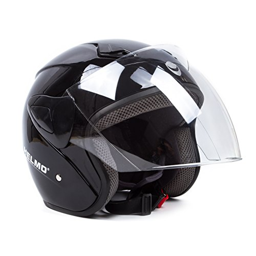 Open Face Motorcycle Helmets Scooter Helmets Flip up Helmets with Shield Gloss Black