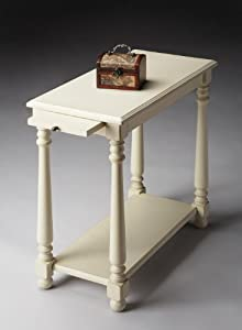 """Chairside Table (Cottage White) (24.25""""H x 12""""W x 24""""D)"""