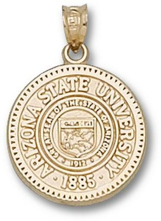 Arizona State Sun Devils Seal Pendant - 14KT Gold Jewelry by Logo Art