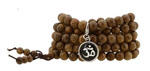 Tibetan Zen Elastic 8mm Dark Grain Wood 108 Prayer Beads Yoga Meditation Necklace Wrap Bracelet Mala with Removable Charms (Om Mantra)