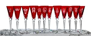 Waterford Crystal Twelve Days of Christmas Crimson Flutes, Box Set of 12