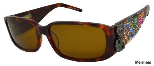 Ed Hardy Mermaid Sunglasses Ehs-029 Tortoise Solid Brown