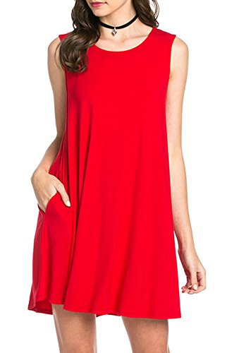 Bamboo Fiber Knit Sleeveless T-shirt Dress (medium, red)