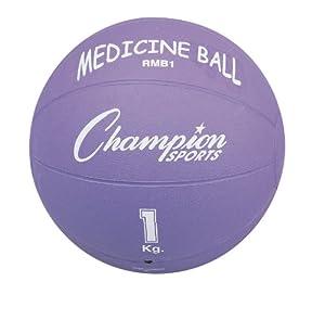 Champion Sports Rubber Medicine Ball (1 kg 2.2-Pounds) by Champion Sports