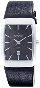 Skagen Mens Watch 690LSLB with Black Leather Strap and Silver Dial
