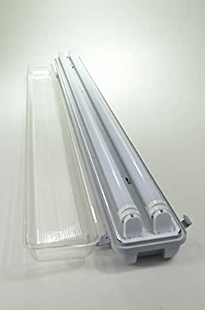 Grey Vapor Tight 4 Ft 2 Light Ceiling Light Fixture 48w Led T8 Tubes Replacement For 4 32w