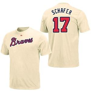 Jordan Schafer Atlanta Braves Ivory Player T-Shirt by Majestic by Majestic