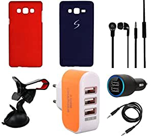 NIROSHA Cover Case Car Charger Headphone Mobile Holder Charger car for Samsung Galaxy ON7 - Combo