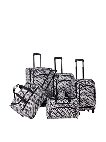 American Flyer 5-Piece Houndstooth Spinner Luggage Set, Black/White