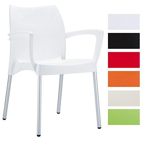 CLP-Gartenstuhl-Kchenstuhl-Stapelstuhl-DOLCE-mit-Armlehne-stapelbar-viele-Farben-whlbar-wei